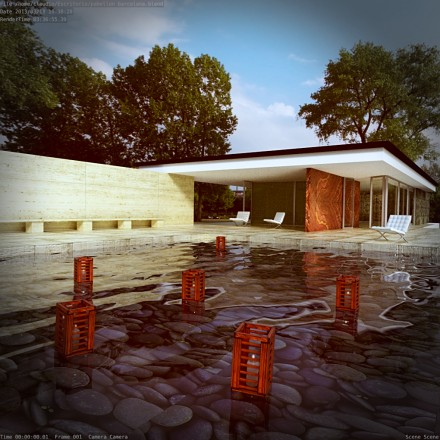 free download barcelona pavilion from mies van der rohe rendered with cycles blender 3d architect. Black Bedroom Furniture Sets. Home Design Ideas