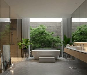Bathroom interior and architectural glass