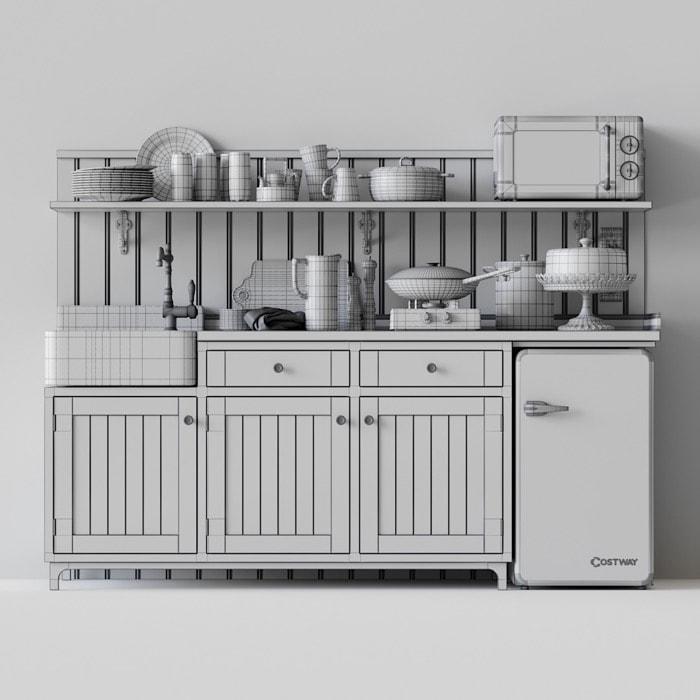 Free vintage kitchen furniture set for Blender • Blender 3D