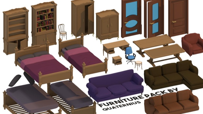 20 free low poly furniture models • Blender 3D Architect